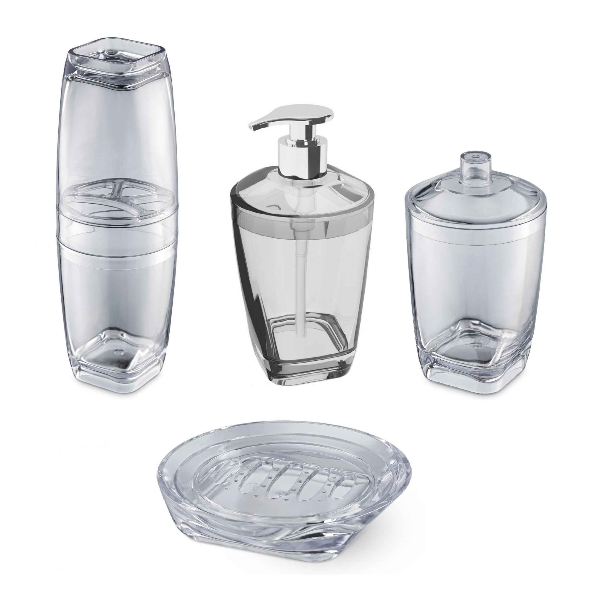 Kit Higiene Banheiro 4 Peças Porta Escova Sabonete Líquido Porta Algodão E Saboneteira Premium Uz Transparente