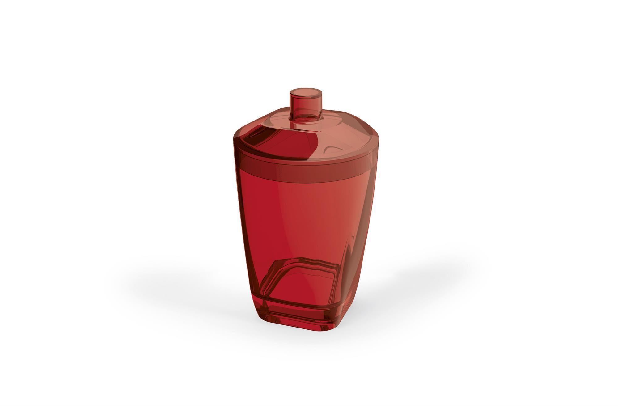 Kit Higiene Banheiro 4 Peças Porta Escova Sabonete Líquido Porta Algodão E Saboneteira Premium Uz Vermelho