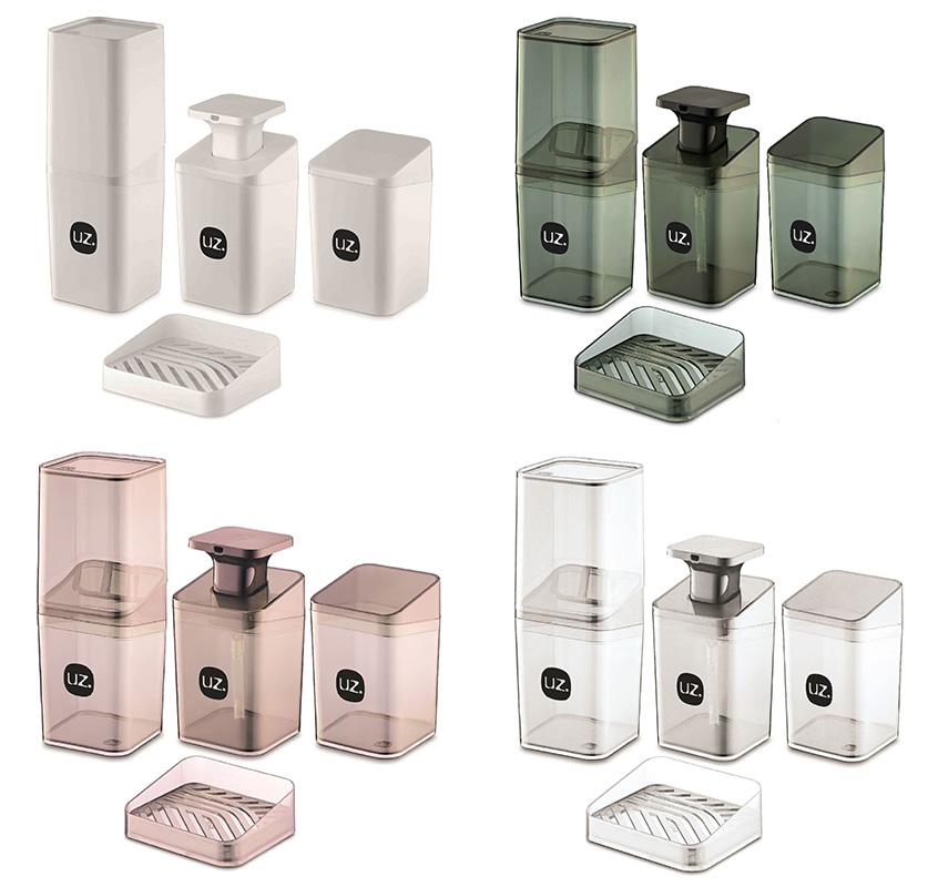 Kit Higiene Banheiro 4 Peças Quadrado Slim Porta Escova Sabonete Líquido Porta Algodão E Saboneteira UZ