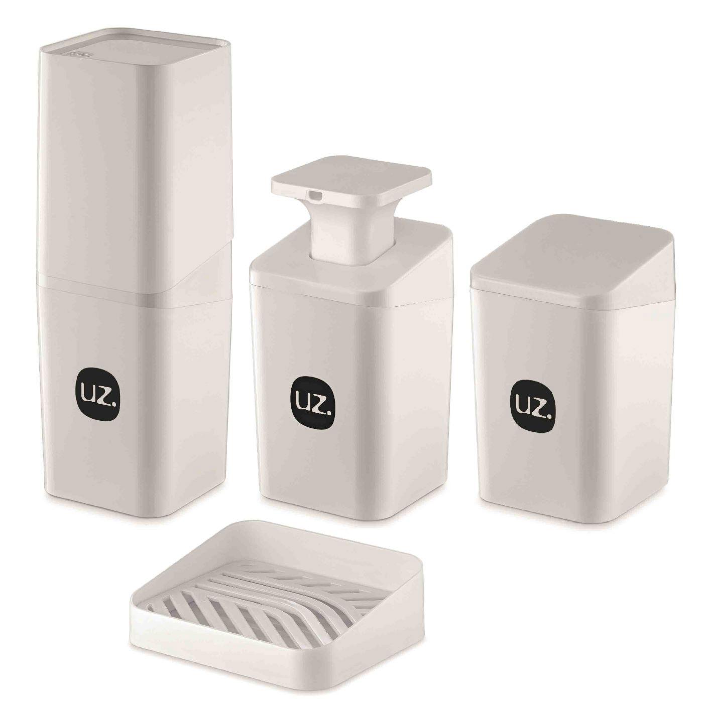 Kit Higiene Banheiro 4 Peças Slim Com Porta Escova Uz Branco