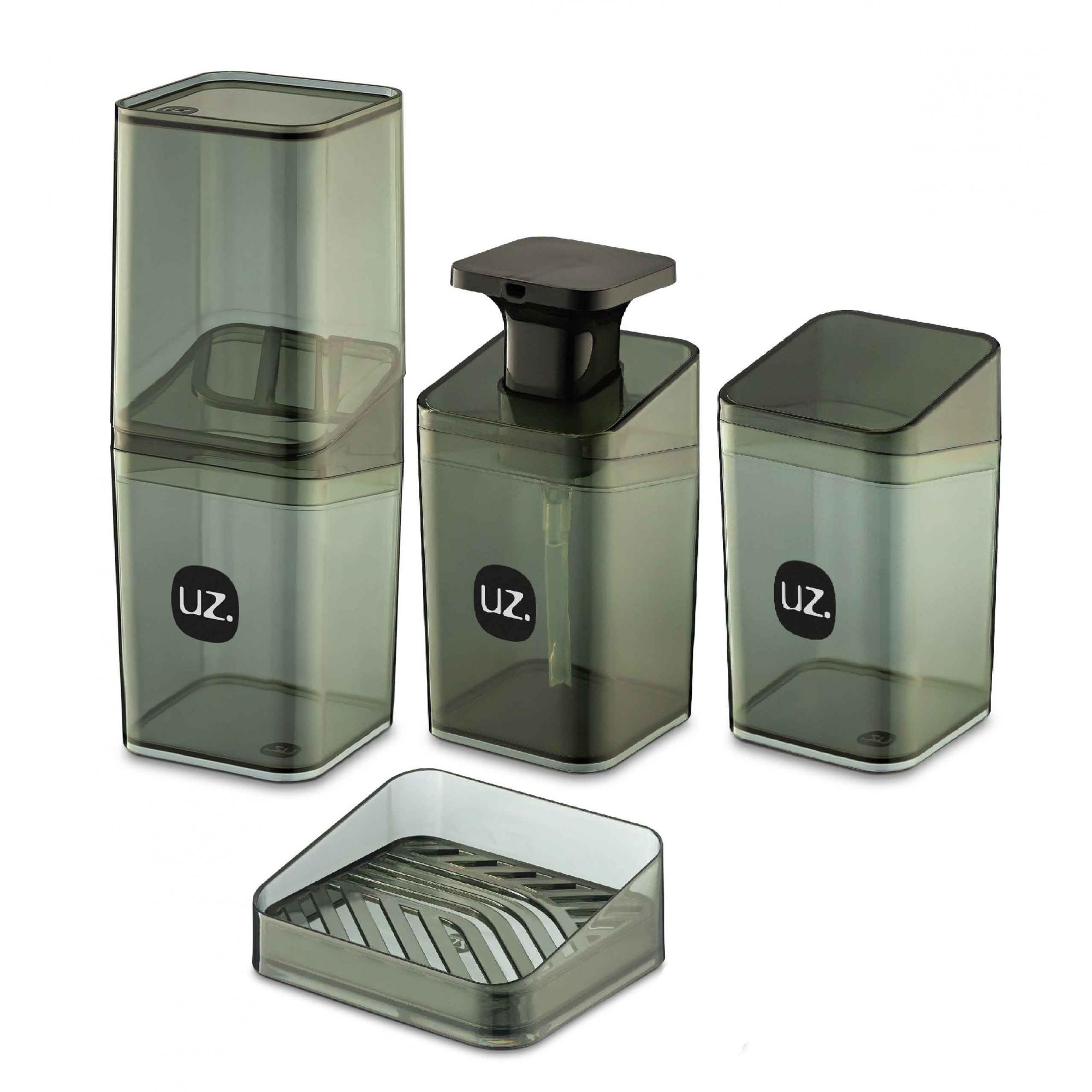Kit Higiene Banheiro 4 Peças Slim Com Porta Escova UZ Preto