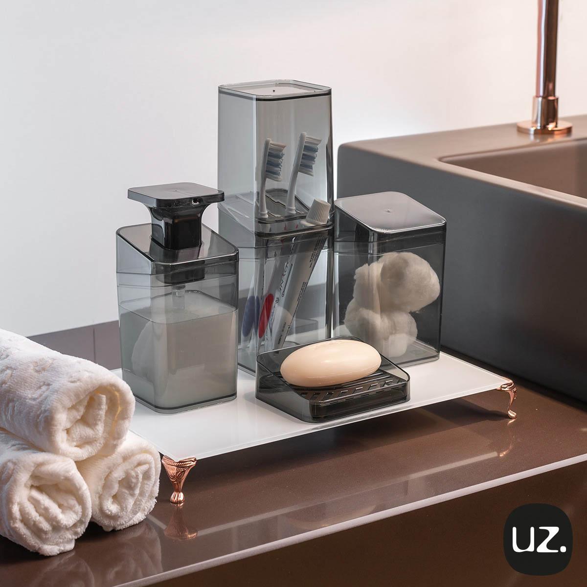 Kit Higiene Banheiro 4 Peças Slim Com Porta Escova UZ Rosê
