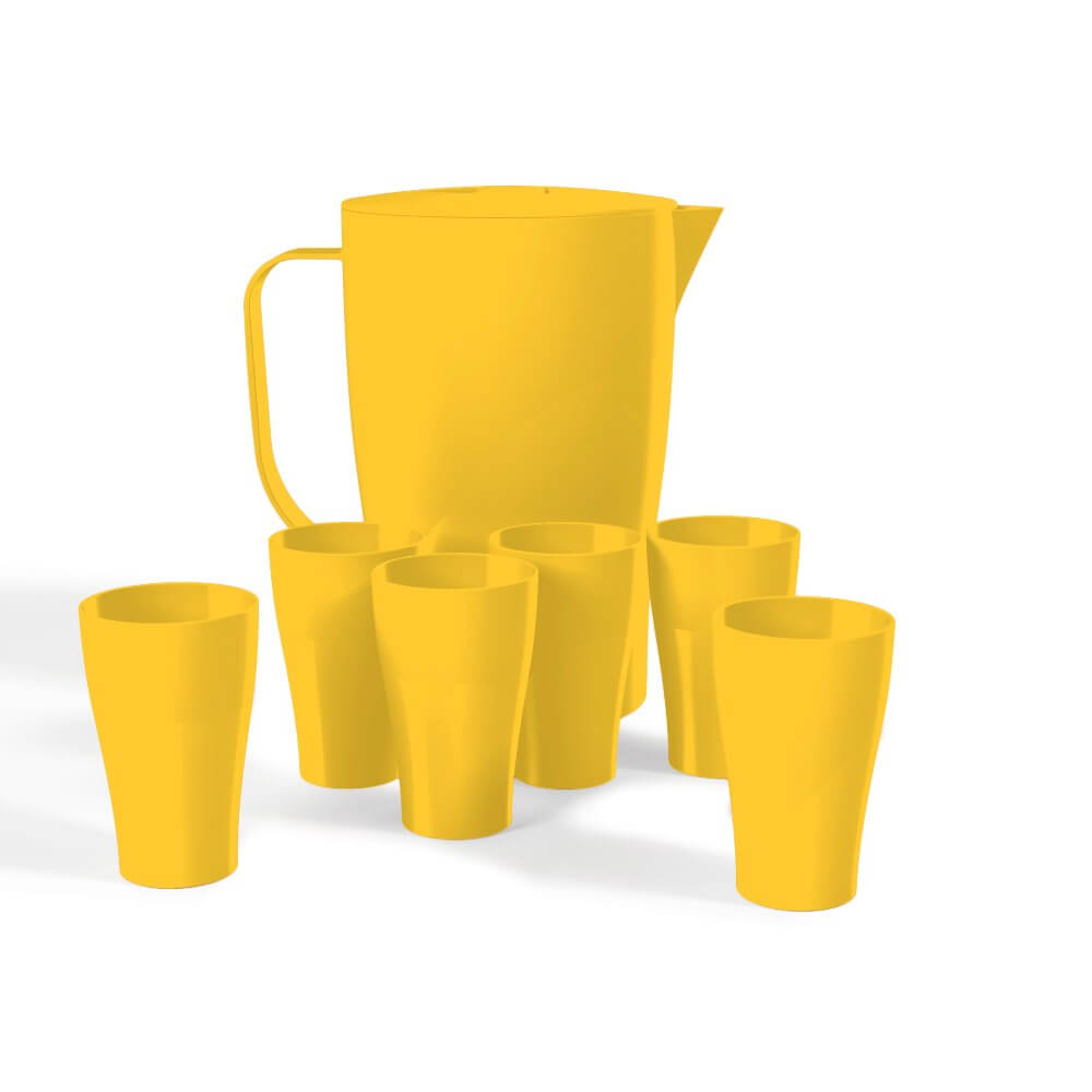 Kit Jarra 2 Litros Com 6 Copos 300ml Plástico Uz Utilidades Amarelo