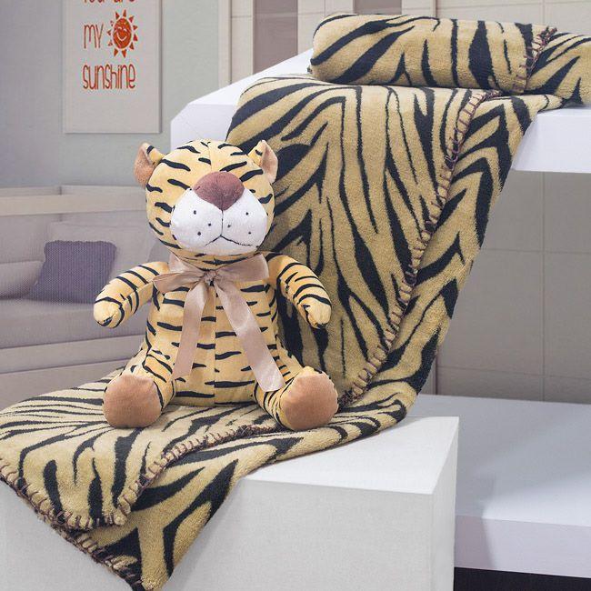Kit Manta Microfibra Com Bichinho Buettner - Tigre