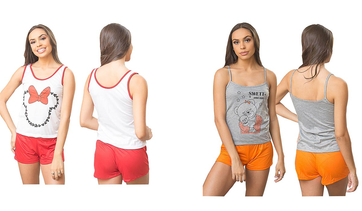 Pijama Adulto Feminino Short Doll Estampado Loren Tamanho P