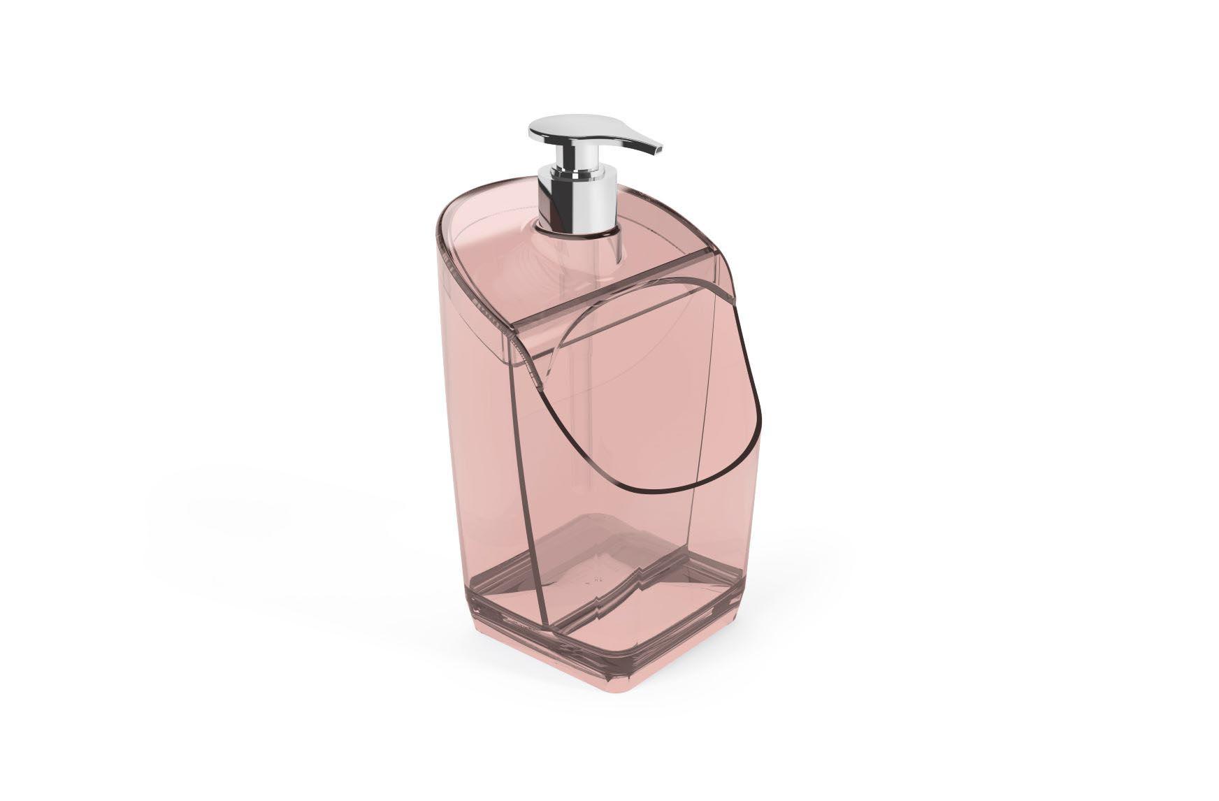Porta Detergente Com Suporte Para Esponja Acrílico UZ Rosa