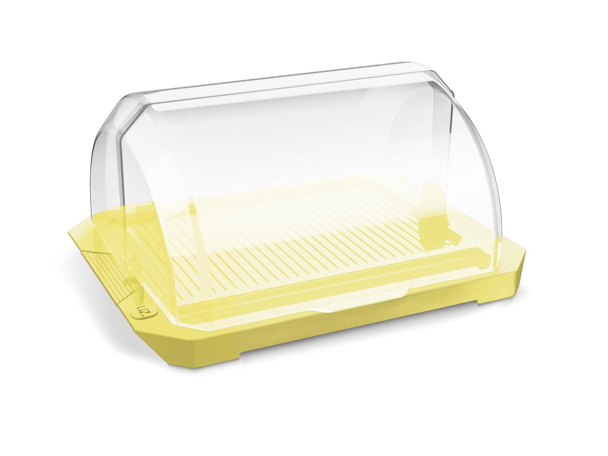 Porta Pão Premium Acrílico Tampa Transparente UZ Amarelo