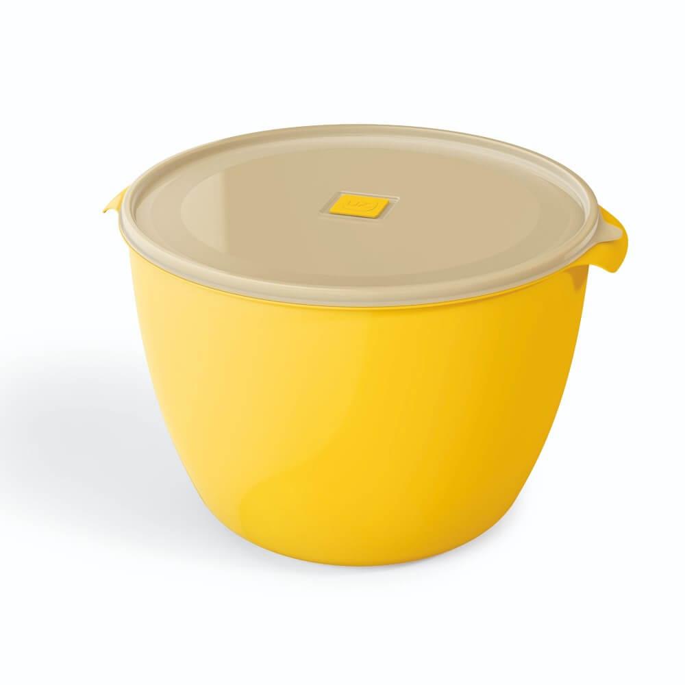 Pote Redondo 10 Litros Premium Tampa Transparente UZ - Amarelo