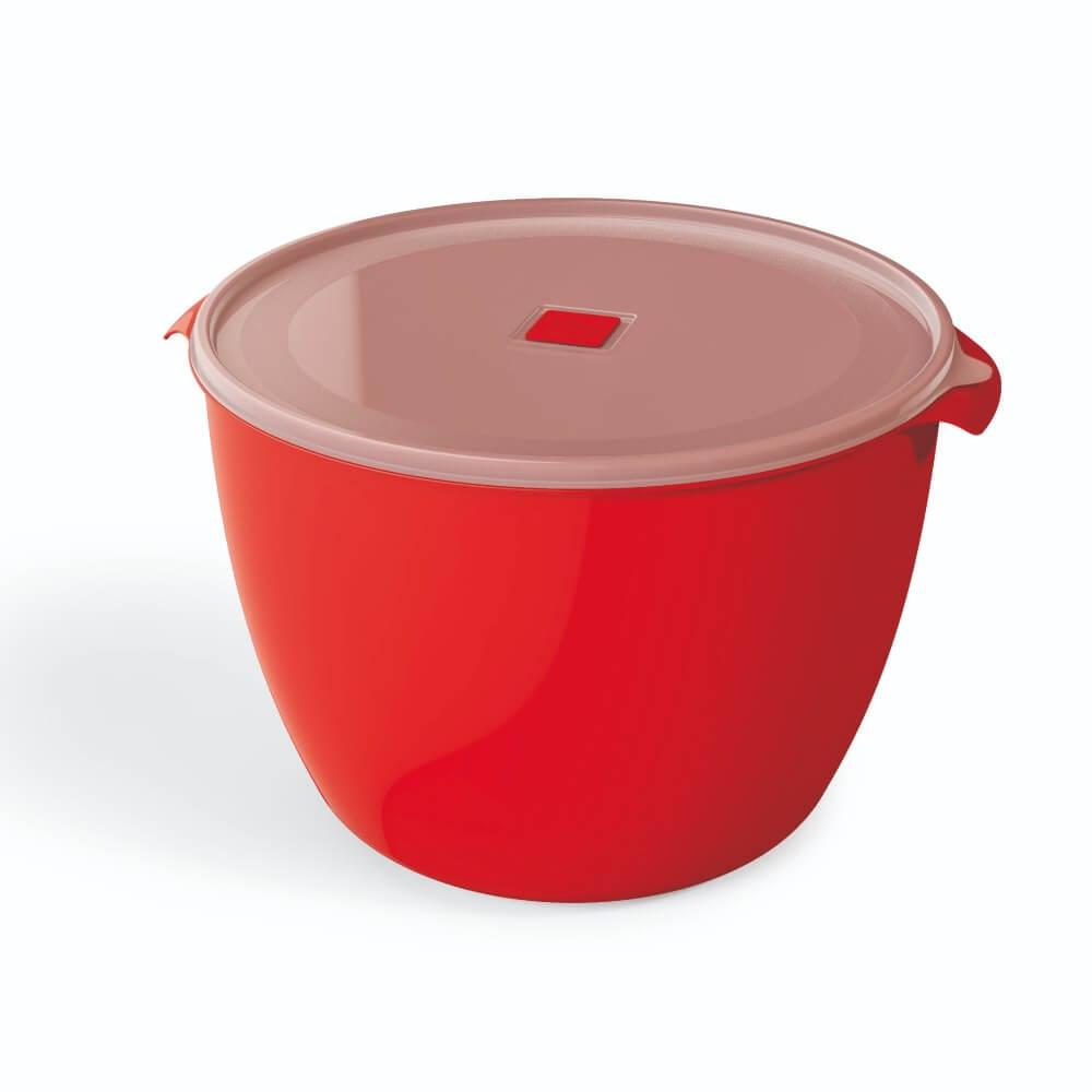 Pote Redondo 10 Litros Premium Tampa Transparente UZ - Vermelho