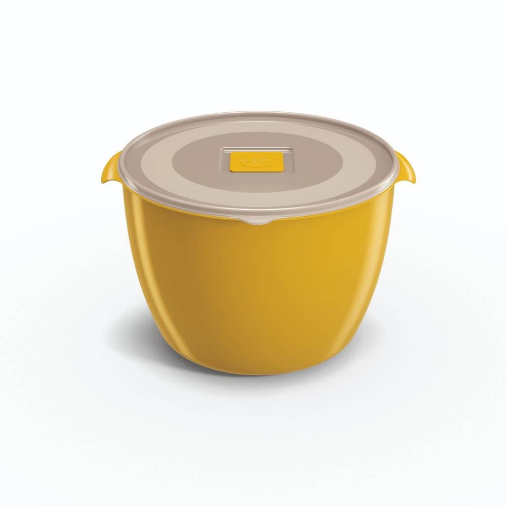 Pote Redondo 1,5 Litros Tampa Transparente UZ Utilidades - Amarelo