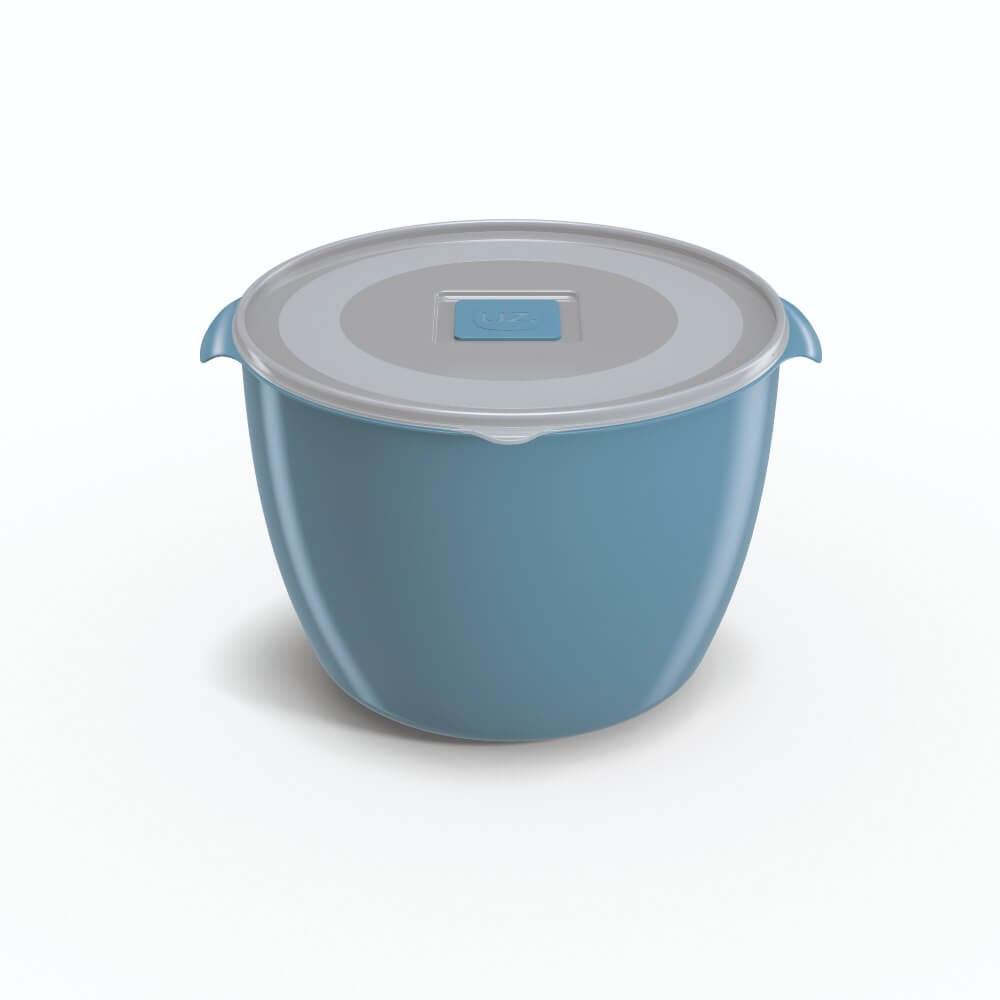 Pote Redondo 1,5 Litros Tampa Transparente UZ Utilidades - Azul