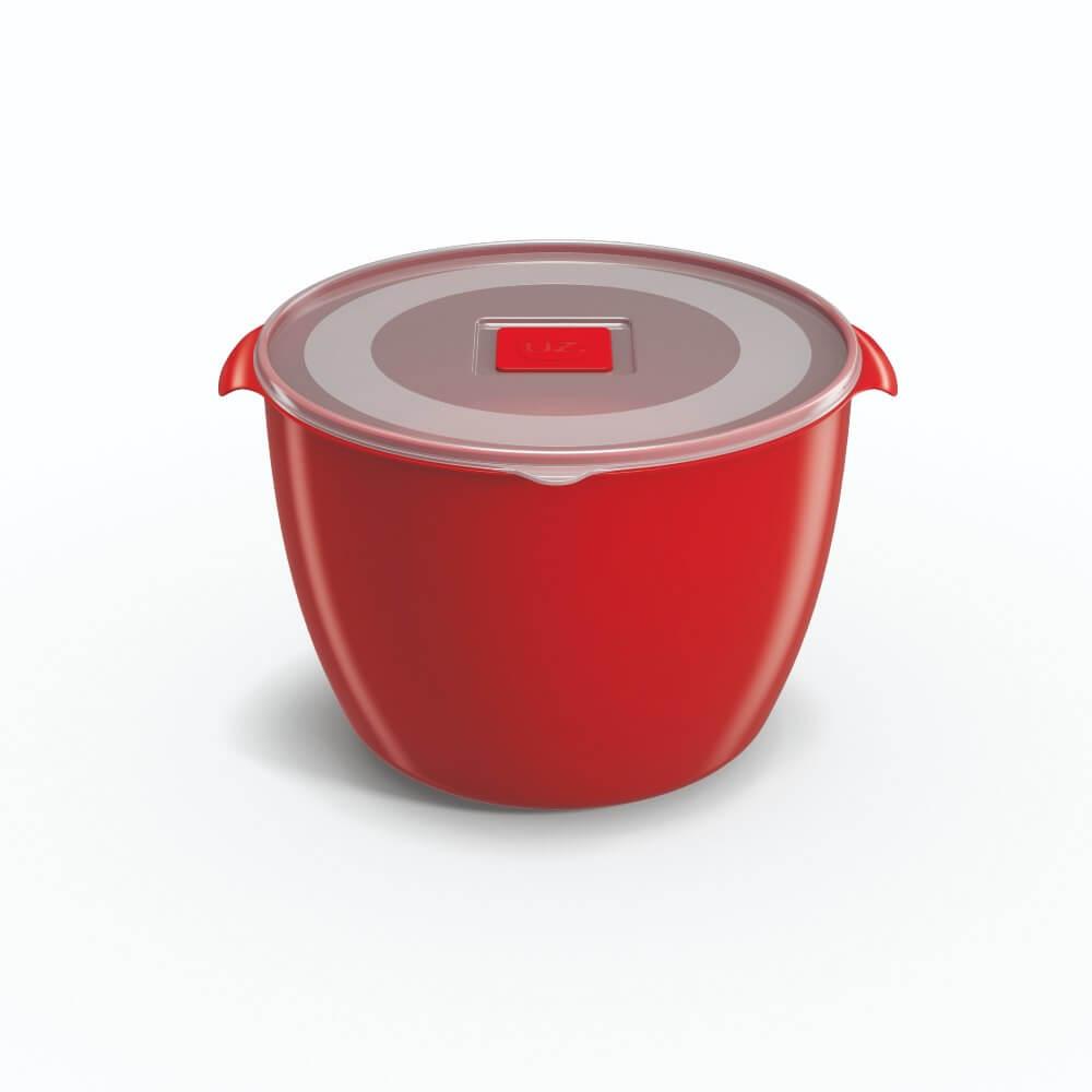 Pote Redondo 1,5 Litros Tampa Transparente UZ Utilidades - Vermelho