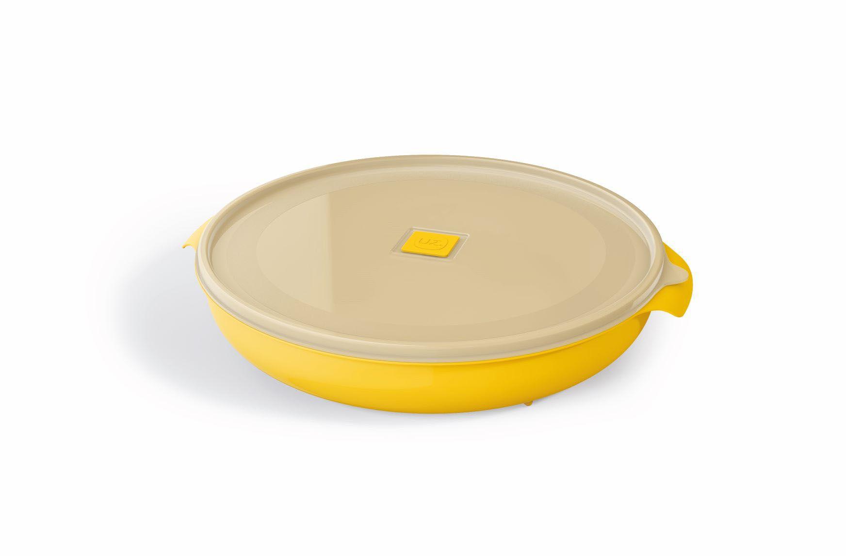 Pote Redondo 2,5 Litros Premium Tampa Transparente UZ - Amarelo