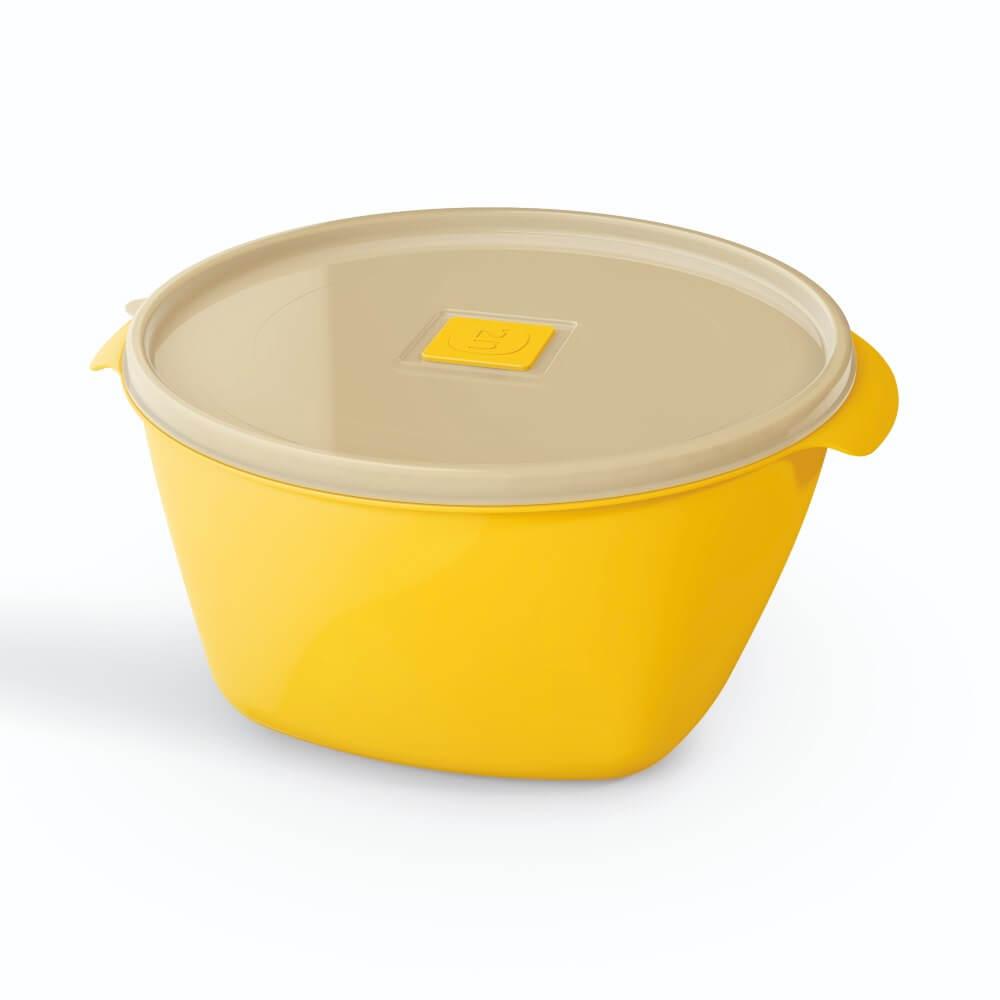 Pote Redondo 2 Litros Tampa Transparente UZ - Amarelo