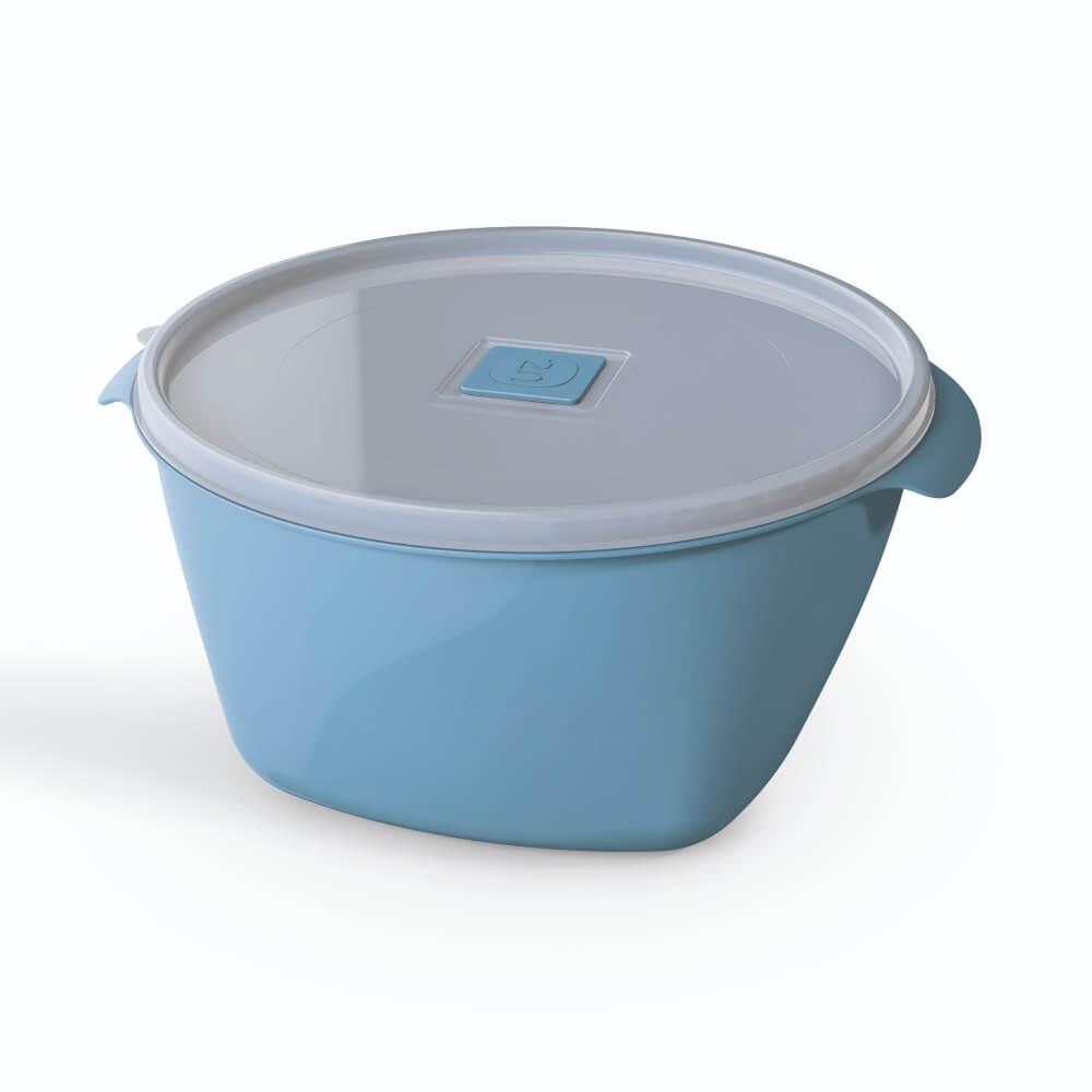 Pote Redondo 2 Litros Tampa Transparente UZ - Azul