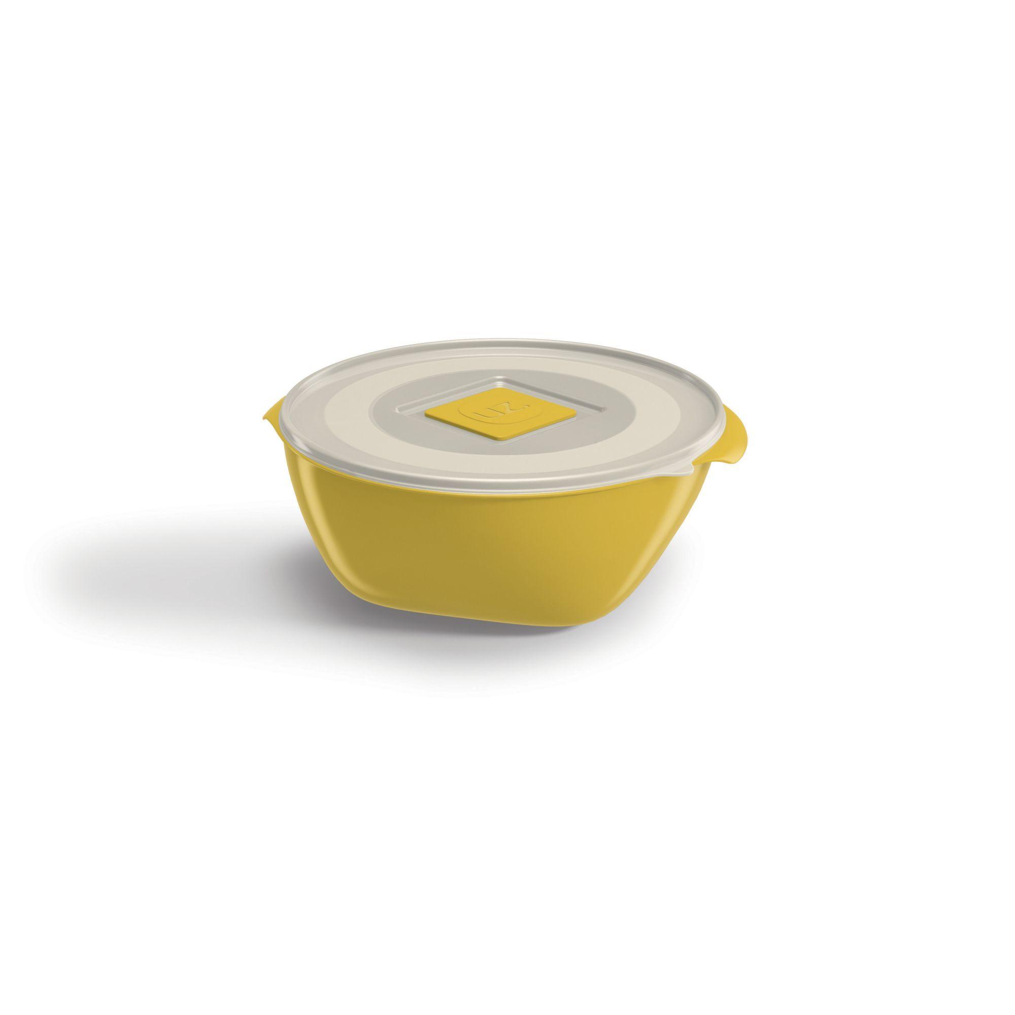 Pote Redondo 350ML Tampa Transparente UZ - Amarelo