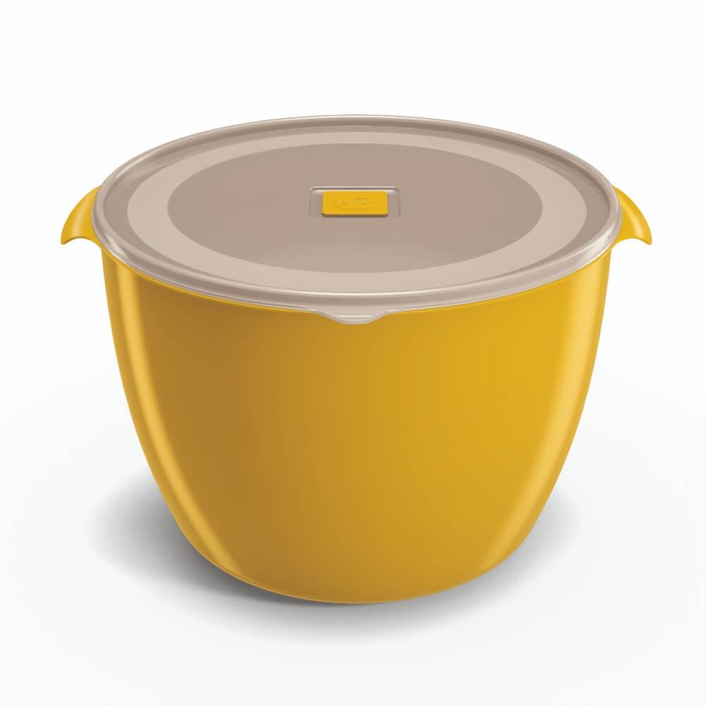 Pote Redondo 5,5 Litros Tampa Transparente UZ - Amarelo
