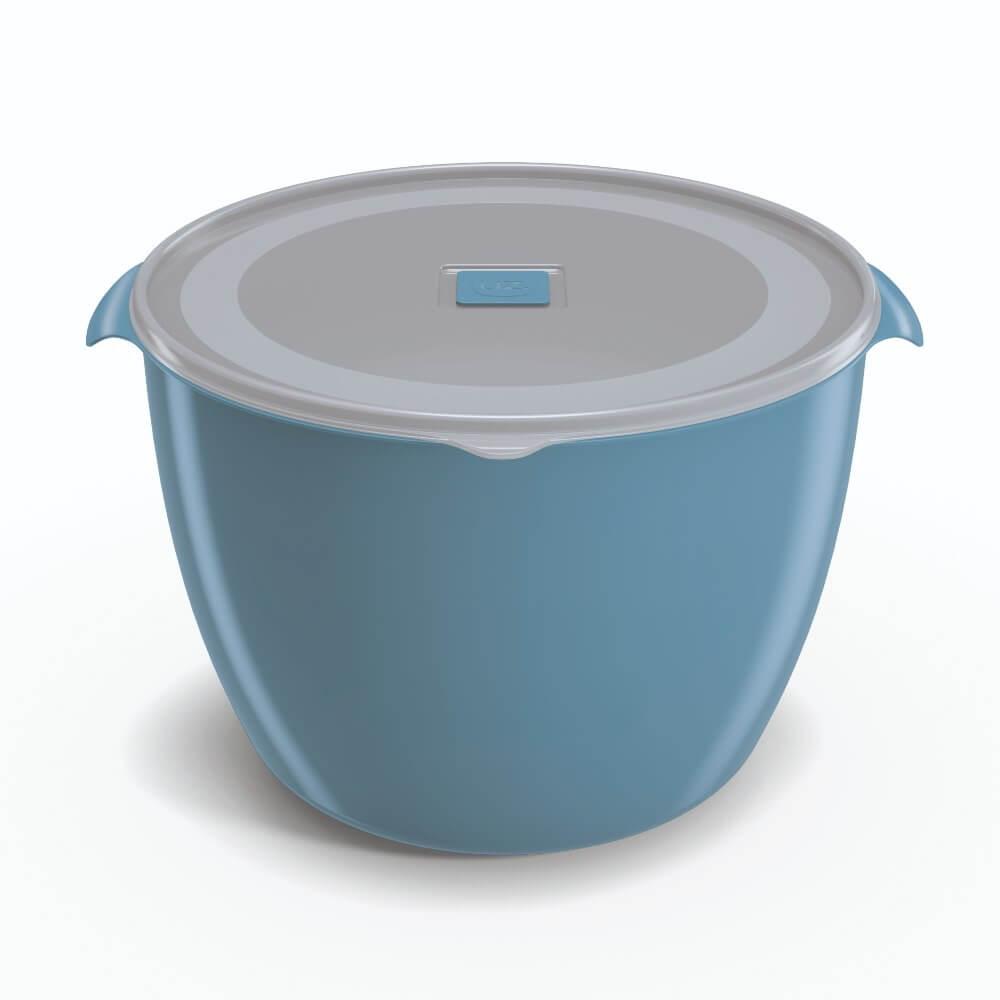 Pote Redondo 5,5 Litros Tampa Transparente UZ - Azul