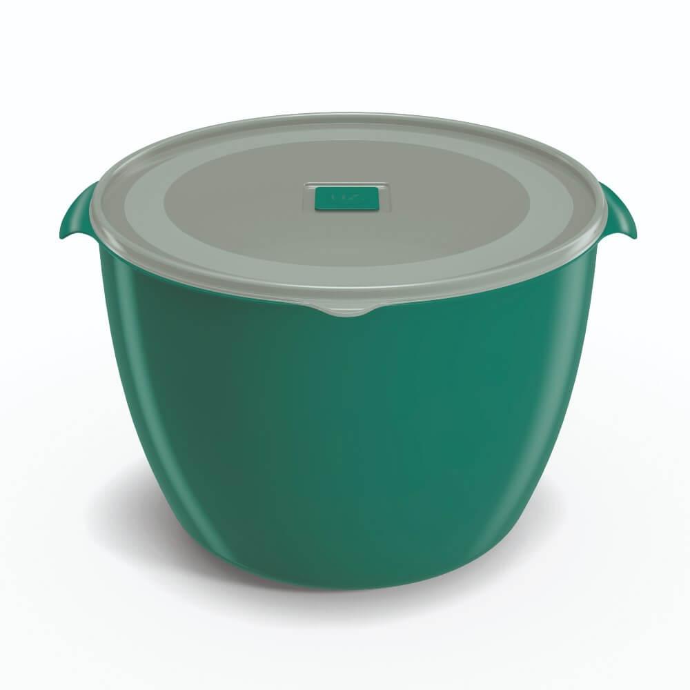 Pote Redondo 5,5 Litros Tampa Transparente UZ - Verde