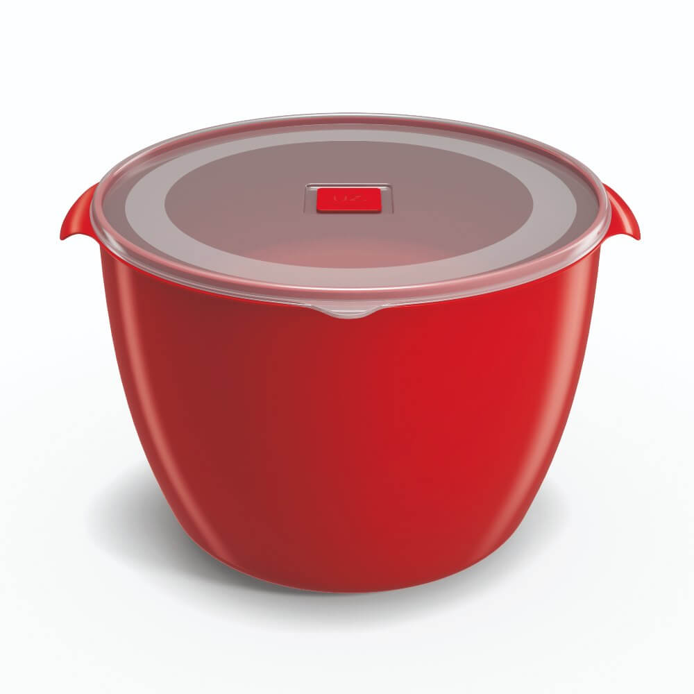 Pote Redondo 5,5 Litros Tampa Transparente UZ - Vermelho