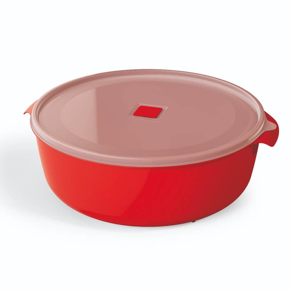 Pote Redondo 5 Litros Premium Tampa Colorida UZ - Vermelho