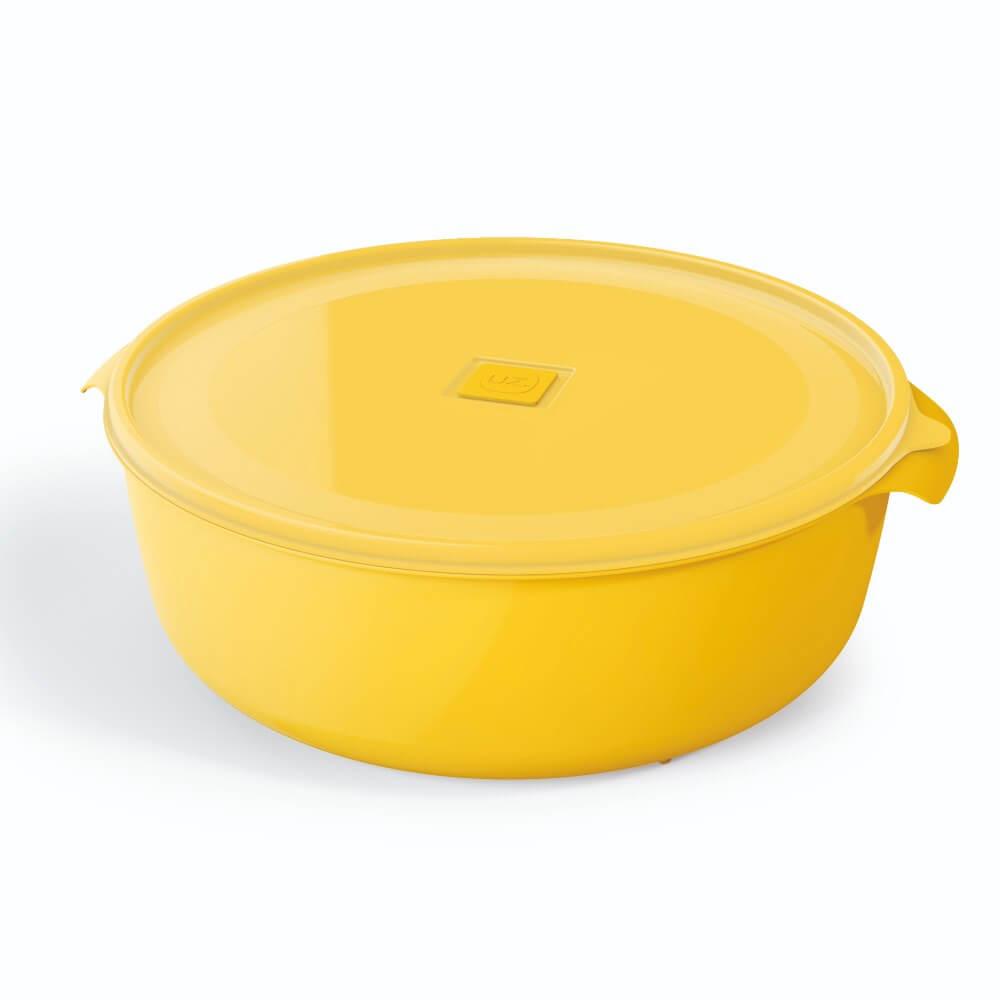 Pote Redondo 5 Litros Premium Tampa Transparente UZ - Amarelo