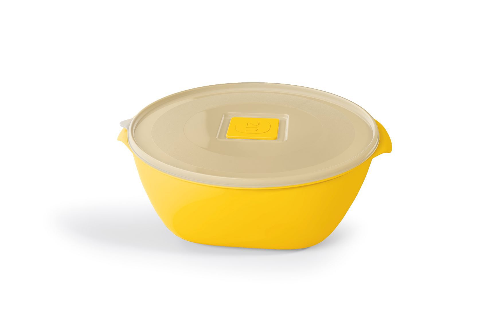 Pote Redondo 800ML Tampa Transparente UZ - Amarelo