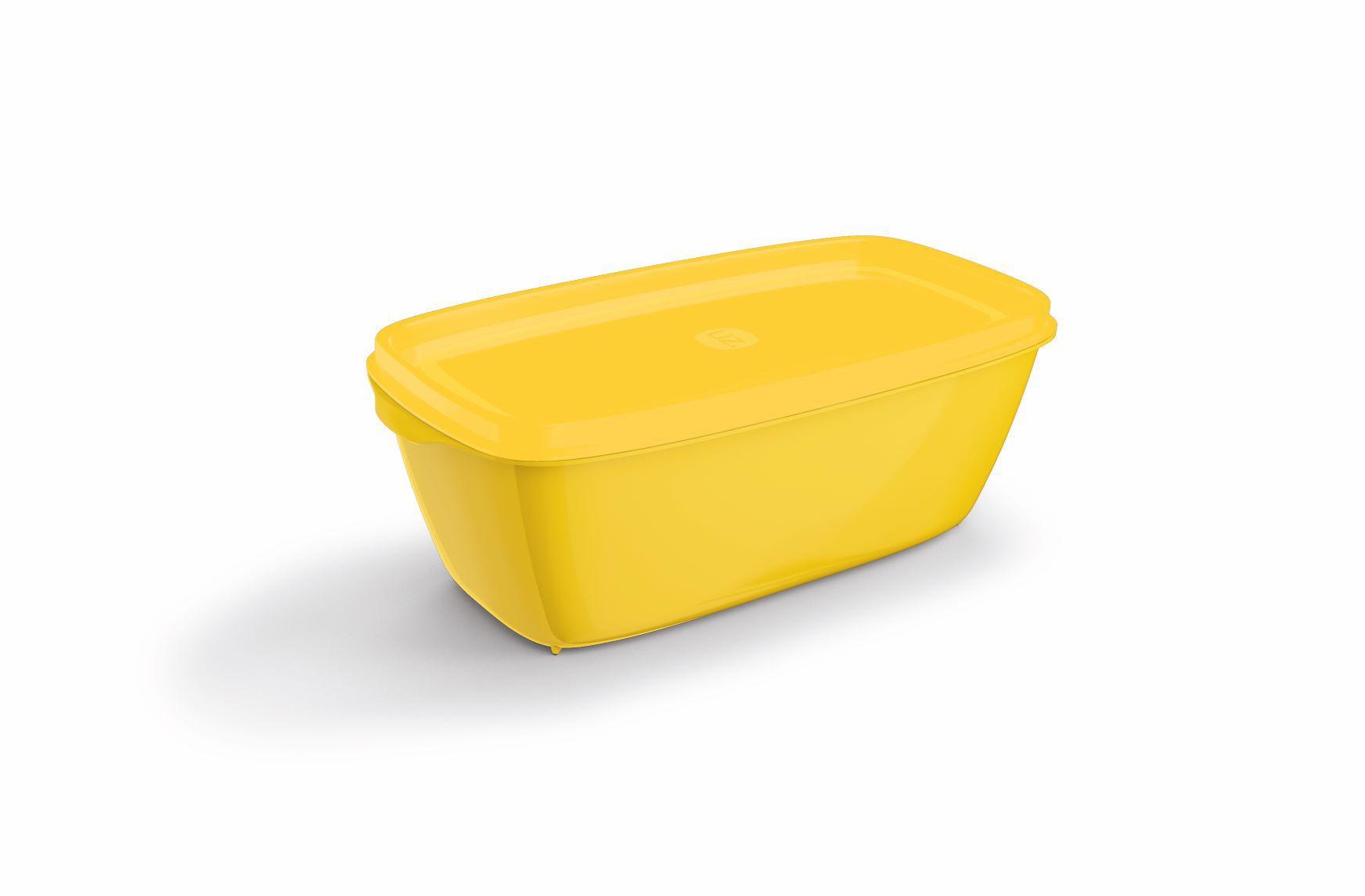 Pote Retangular 1,5 Litros Tampa Colorida UZ - Amarelo