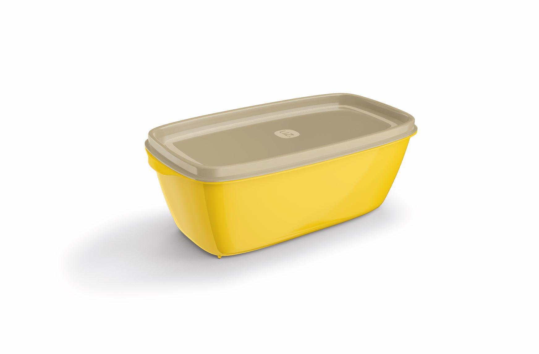 Pote Retangular 1,5 Litros Tampa Transparente UZ - Amarelo
