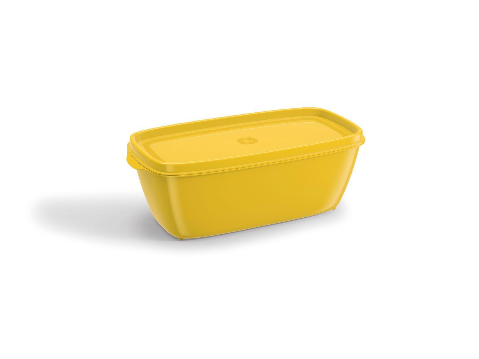 Pote Retangular 500ML Tampa Colorida UZ Utilidades - Amarelo