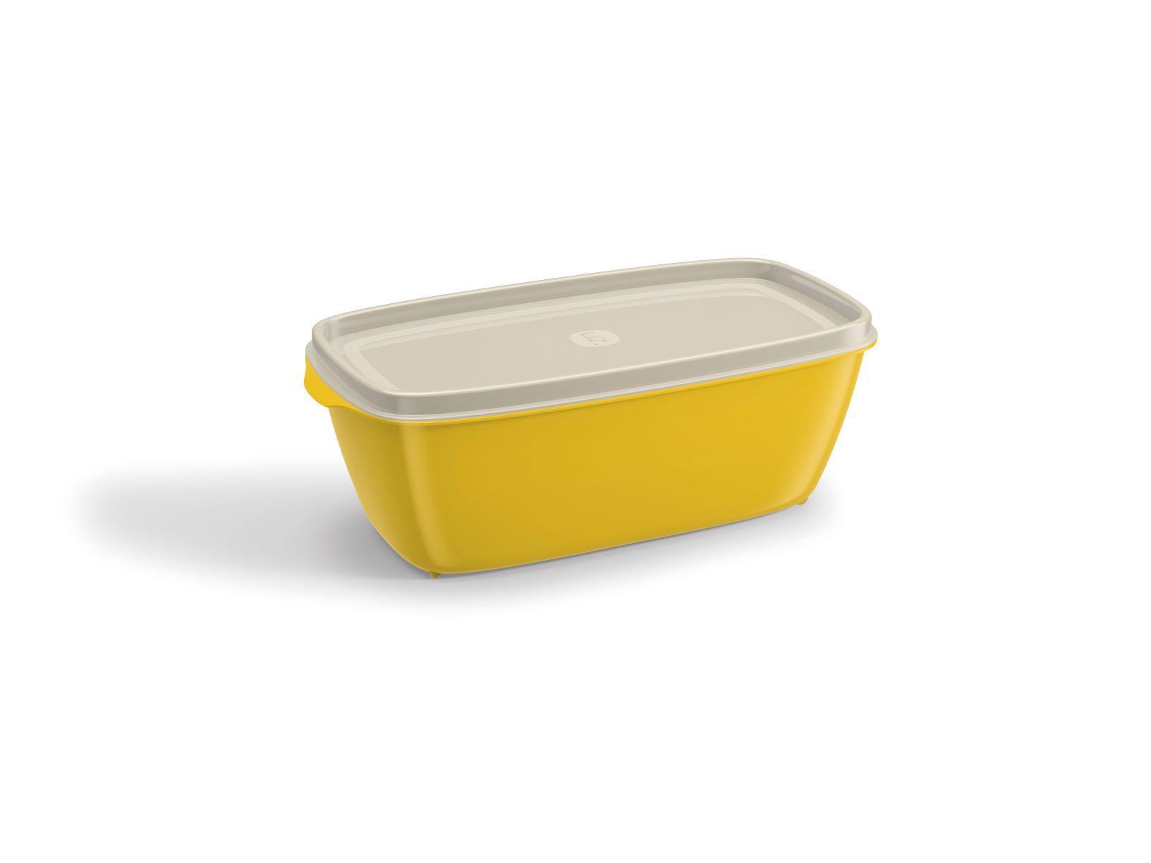 Pote Retangular 500ML Tampa Transparente UZ Utilidades - Amarelo