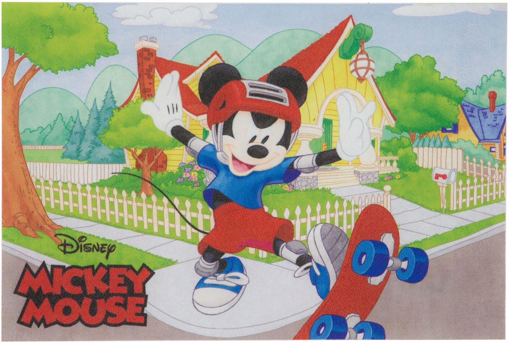 Tapete Infantil Digital Antiderrapante 40cmx60cm Para Quarto Menino Jolitex Disney - Mickey Skatista