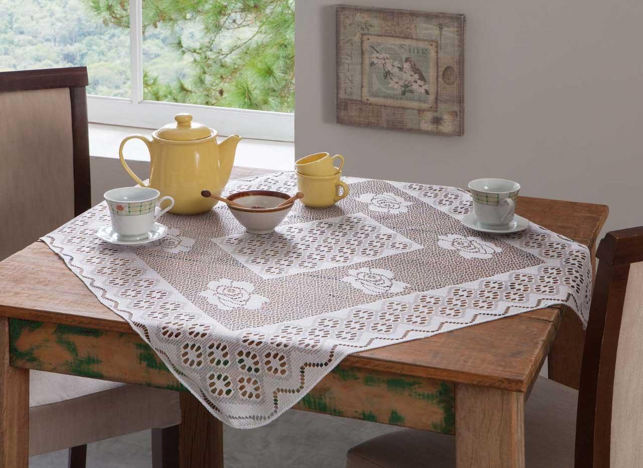 Toalha De Chá Em Renda Floral Quadrada 0,78x0,78cm Branca