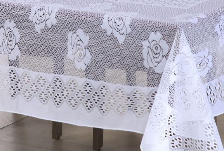 Toalha De Mesa 6 Cadeiras Em Renda Floral 1,60x2,20m Branca