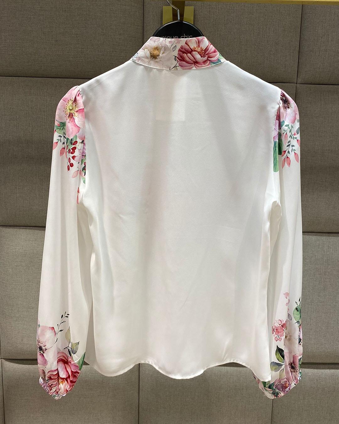 Camisa Manga Longa Floral Print Gola Alta Unique Chic