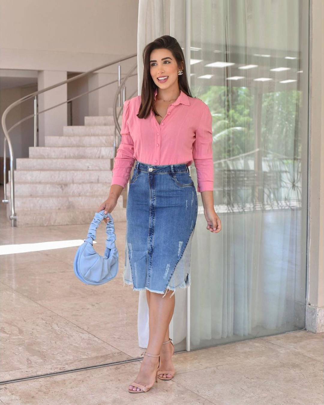 Saia Jeans Midi Destroyed Evasê