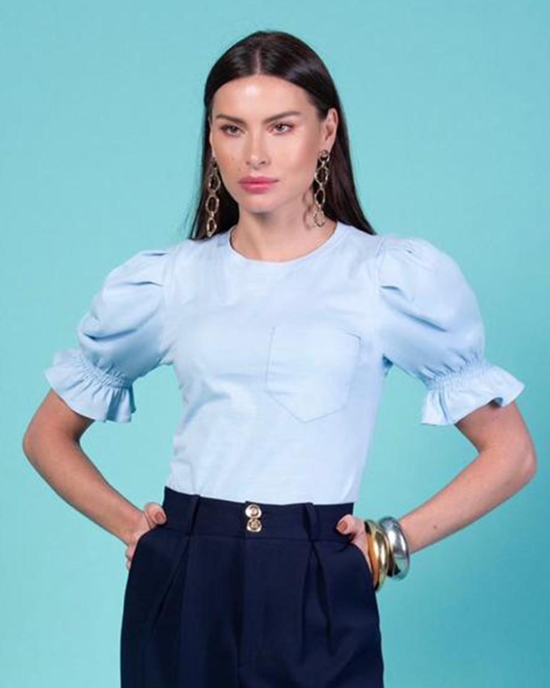 T-Shirt Algodão com Bolso e Manga Bufante com Lastex Milalai
