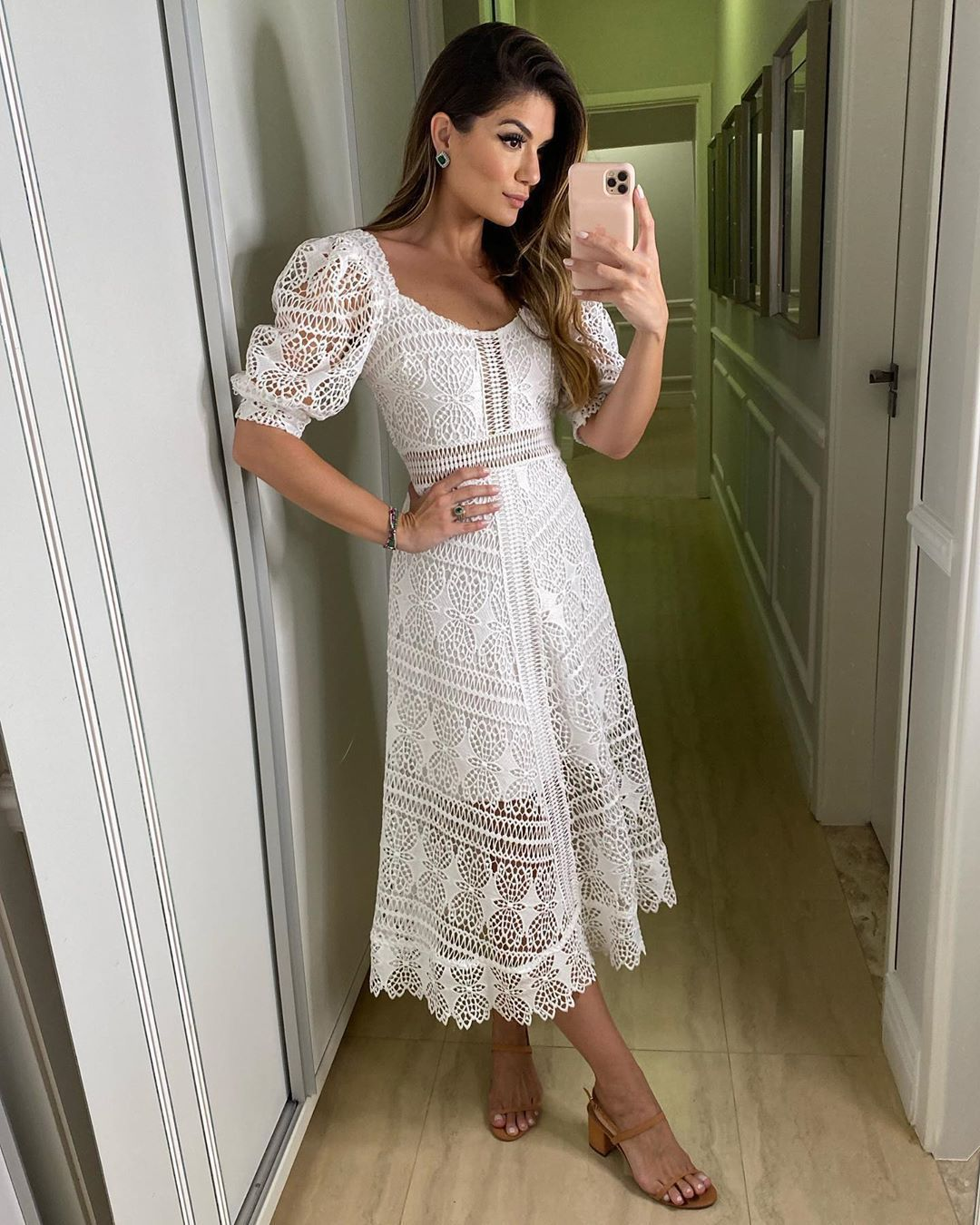 Vestido Branco Midi Lady Like em Guipir Casamento Civil Ariane