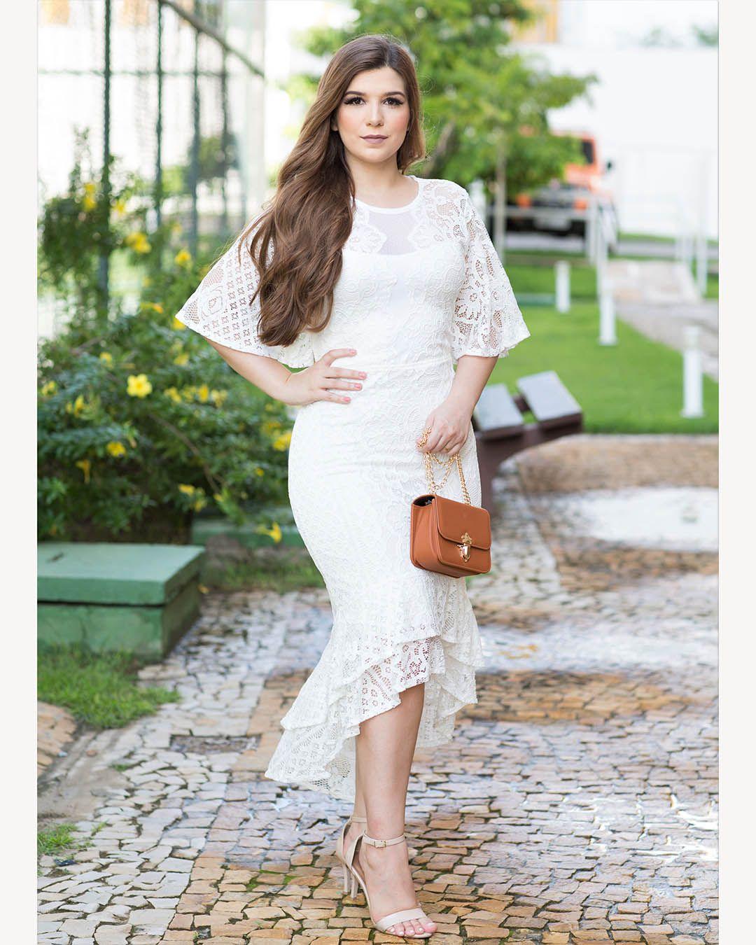 Vestido Branco Midi Mullet em Renda Casamento Civil Az Irmãs