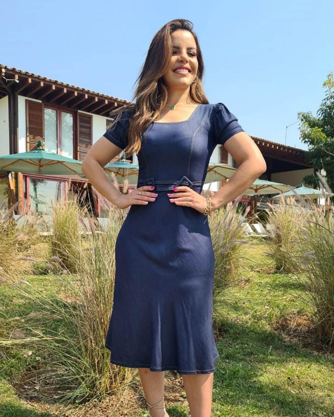Vestido Jeans Midi Evasê Manga Bufante Az Irmãs Paola Santana