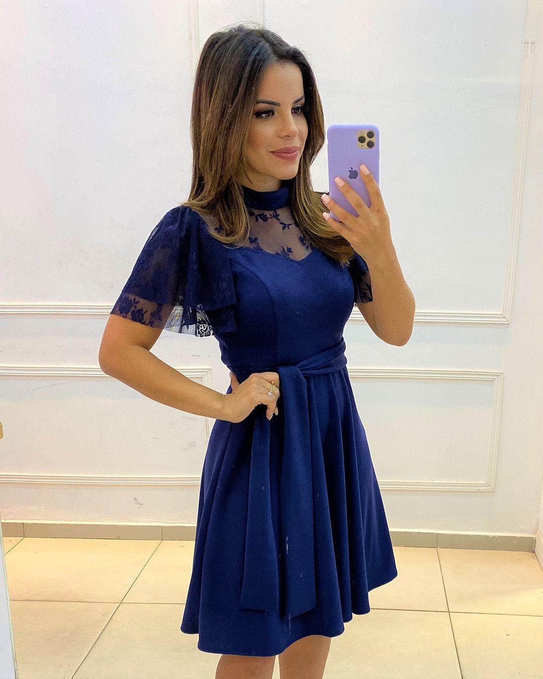 Vestido Lady Like com Tule Azul Marinho Az Irmãs Moda Evangélica