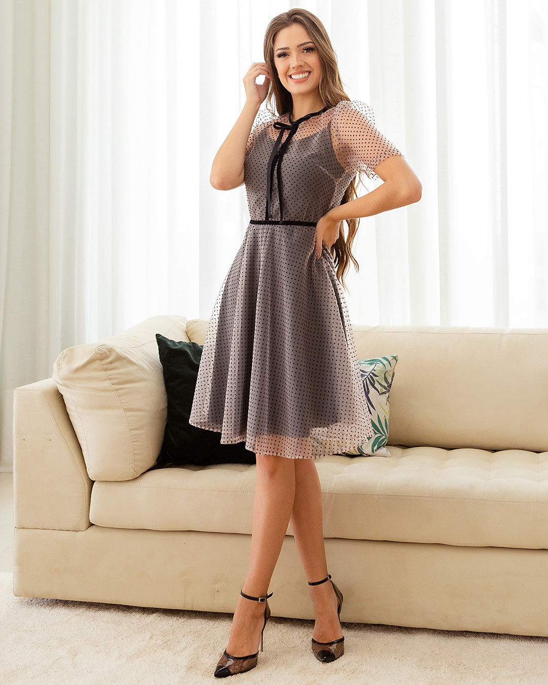 Vestido Lady Like Organza Poá Az Irmãs Moda Evangélica