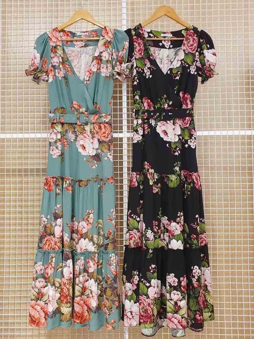 Vestido Longo Floral Três Marias Decote v Transpassado Milalai