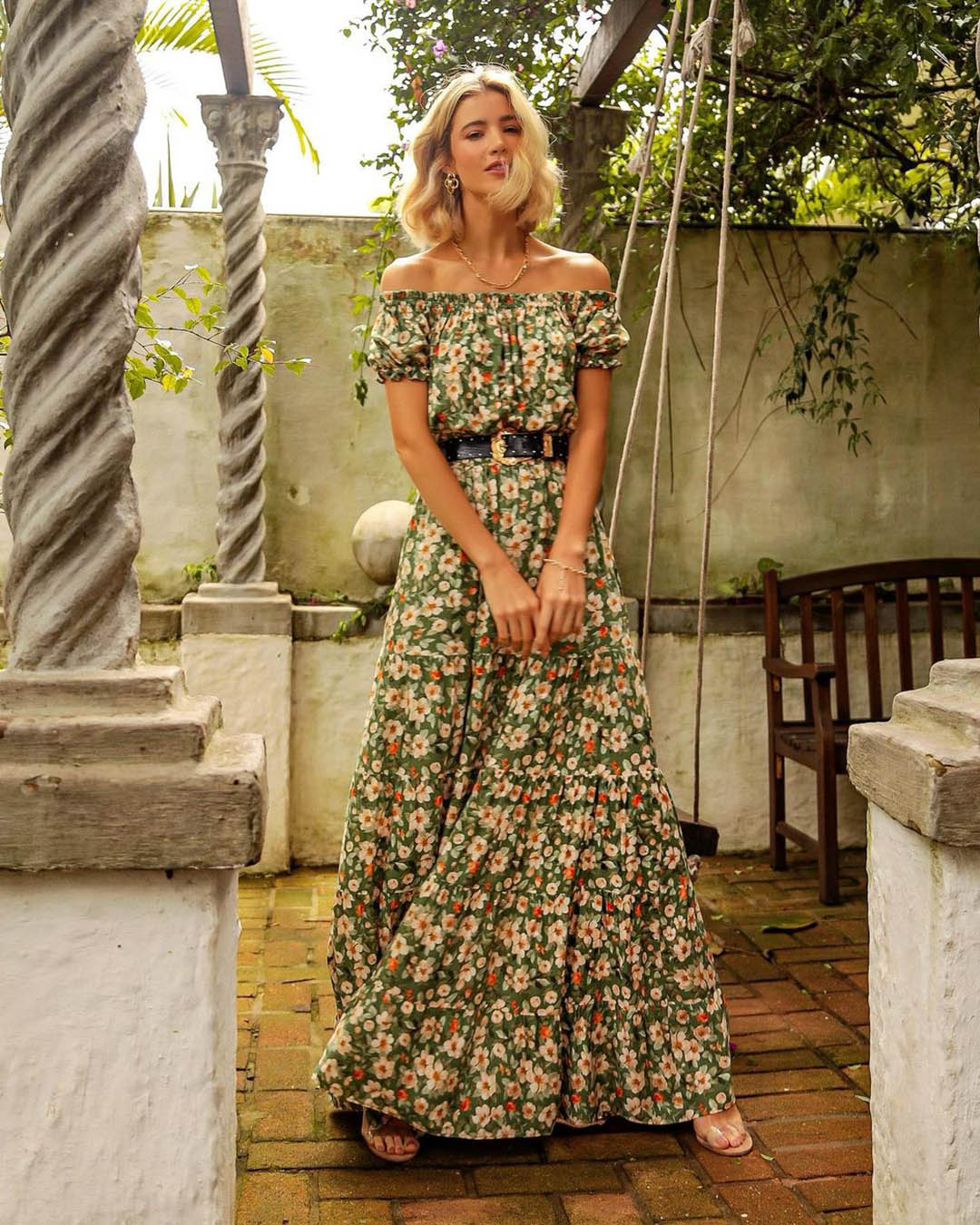 Vestido Longo Floral Com Lastex Ombo a Ombro Milalai