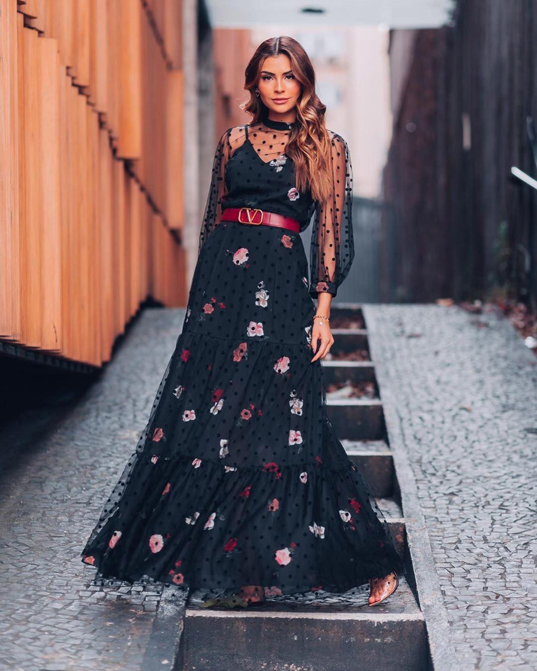 Vestido Longo Floral Tule Poá Preto Ariane Moda Festa Poema Hit