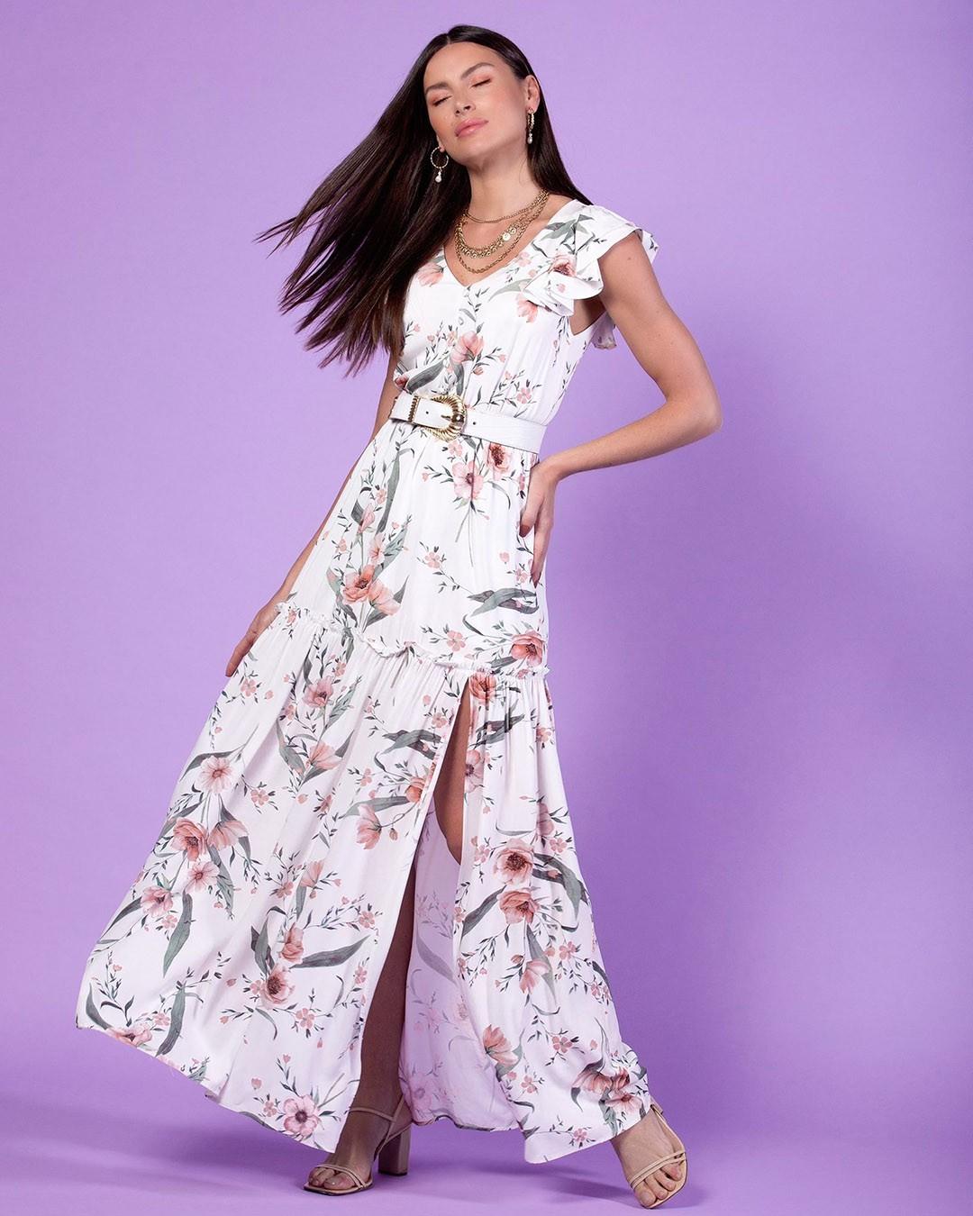 Vestido Longo Soltinho Estampa Floral Decote V Milalai