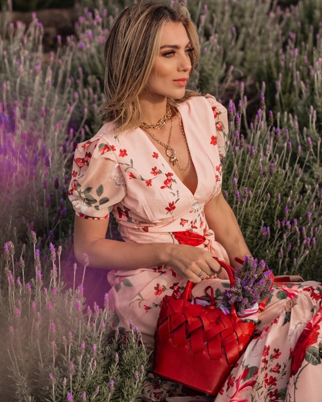 Vestido Longo Soltinho Estampa Floral Rosê Poema Hit