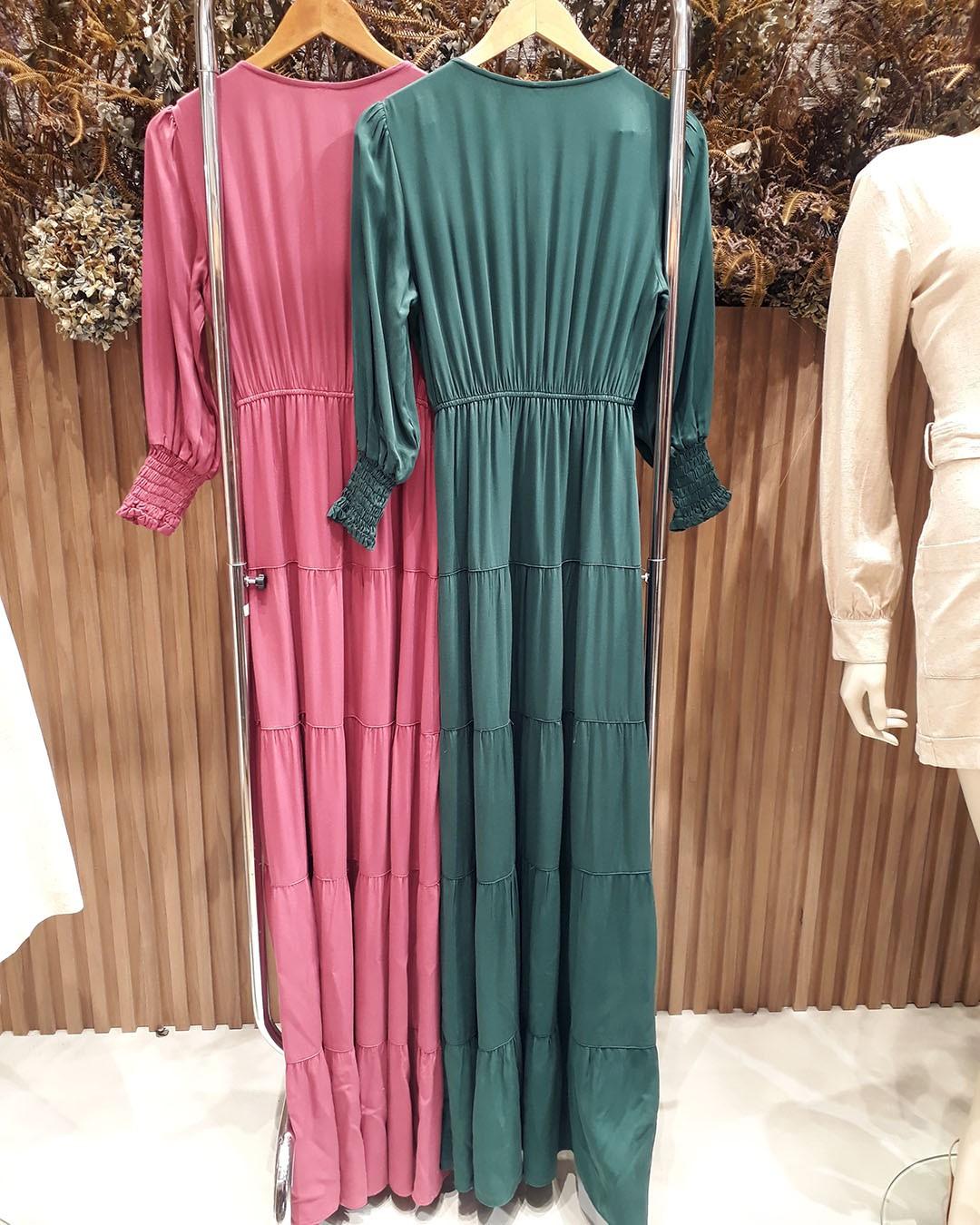Vestido Longo Três Marias com Manga Longa Melove Ariane