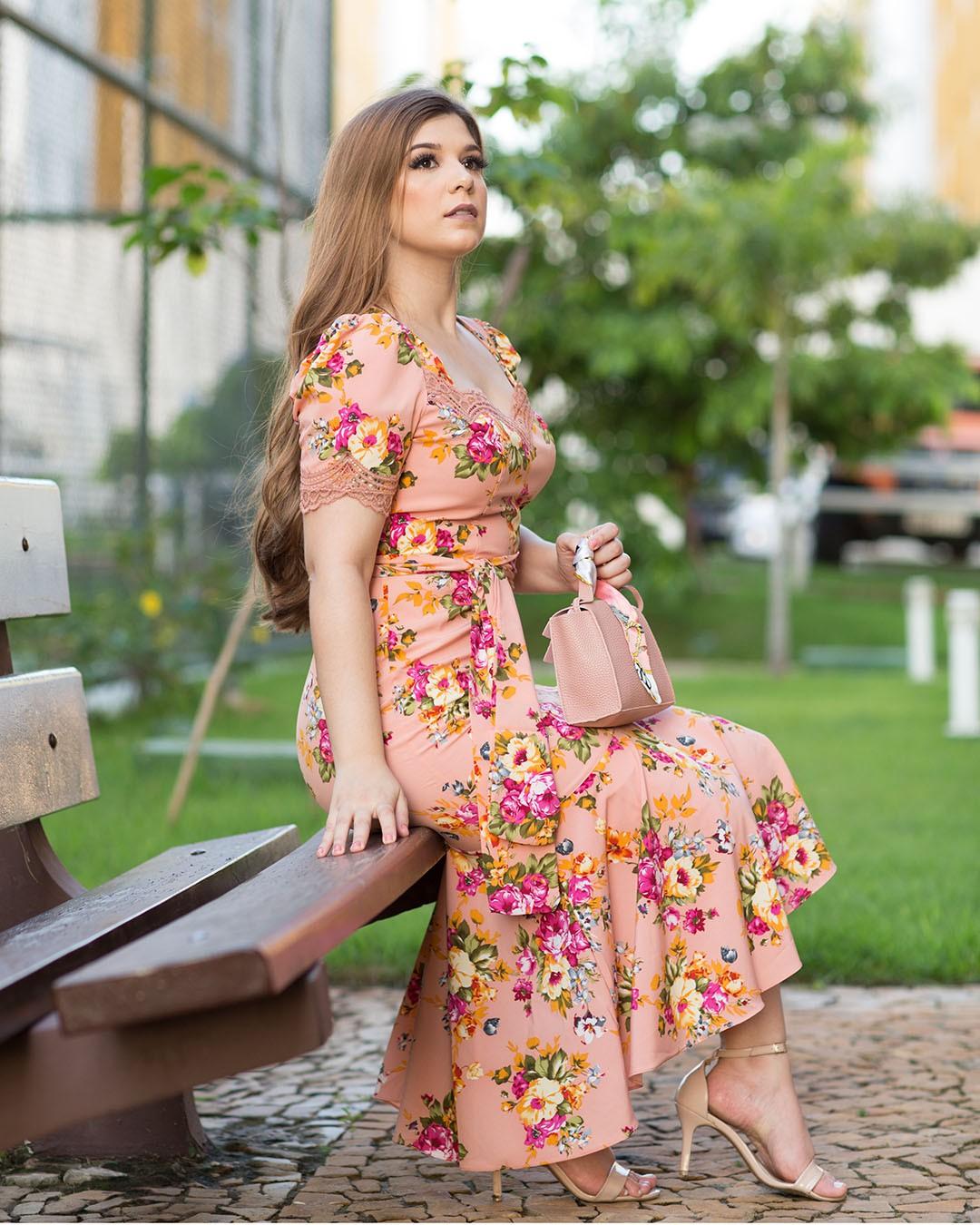Vestido Maxi Midi Floral com Babado e Renda Az Irmãs