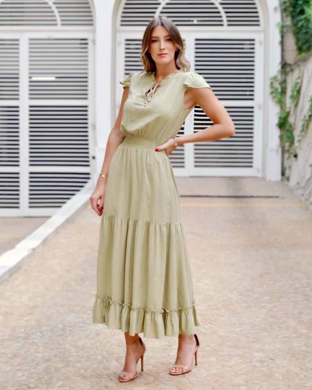 Vestido Maxi Midi Soltinho com Lastex Milalai Ariane